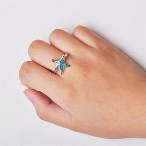 New Blue Fire Opal Starfish Ring Silver